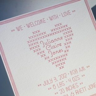 Classic Stitch letterpress birth announcement