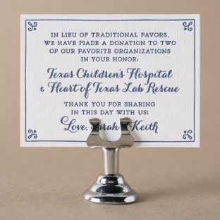 Westley letterpress favor cards from Bella Figura