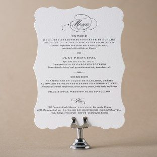 Deveril die-cut + letterpress wedding menus from Bella Figura