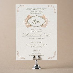 Vintage Apothecary letterpress wedding menus from Bella Figura