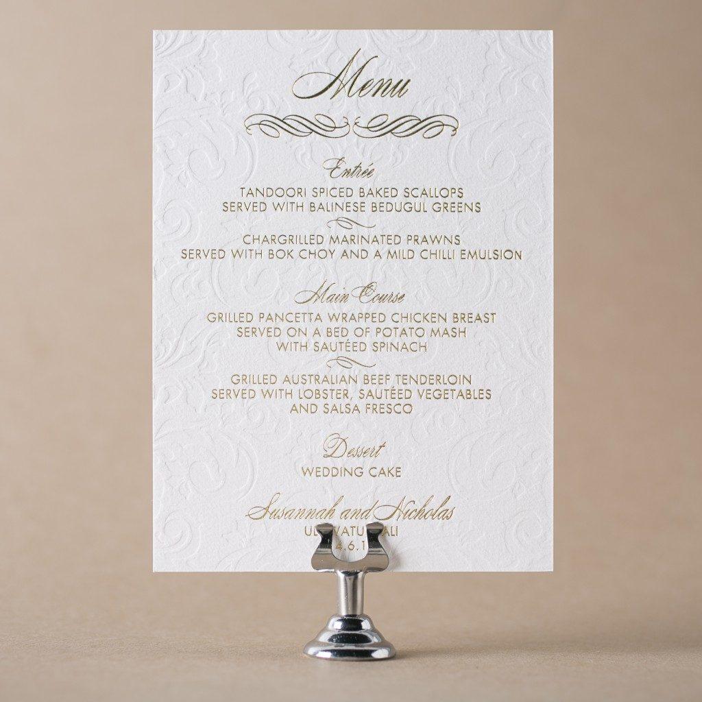 letterpress menus   menu etiquette