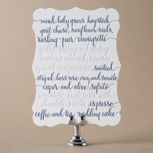 Colette die-cut + letterpress wedding menu with hand calligraphy accents by Kelle McCarter for Bella Figura