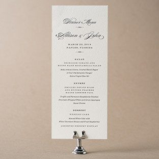 Tea-length letterpress wedding menu featuring the Deveril design from Bella Figura
