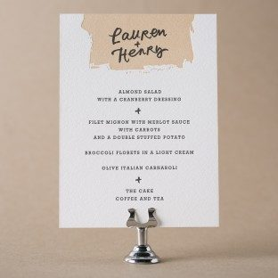 Good Show letterpress wedding menu with hand calligraphy accents by Patricia Mumau for Bella Figura