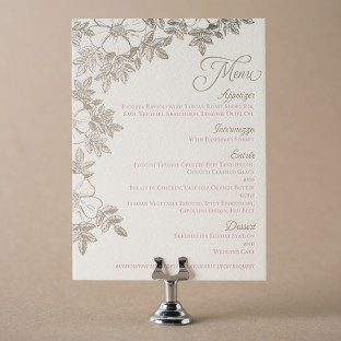 Traditional Palm letterpress + foil stamped wedding menu from Bella Figura