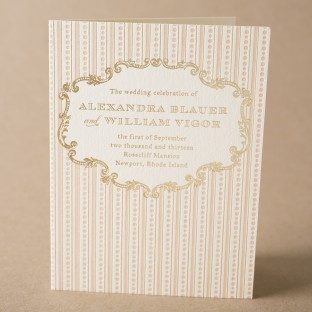 A Bientot letterpress + foil stamped wedding programs from Bella Figura