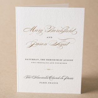 Deveril letterpress + foil stamped wedding programs from Bella Figura