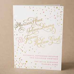 Gilded Romance letterpress + foil stamped wedding programs from Bella Figura