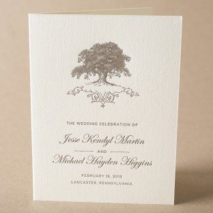 Under the Tree letterpress wedding programs from Bella Figura