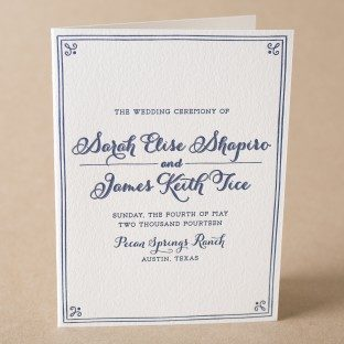 Westley letterpress wedding programs from Bella Figura