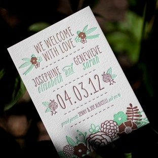 Rustic Jolene letterpress birth announcement
