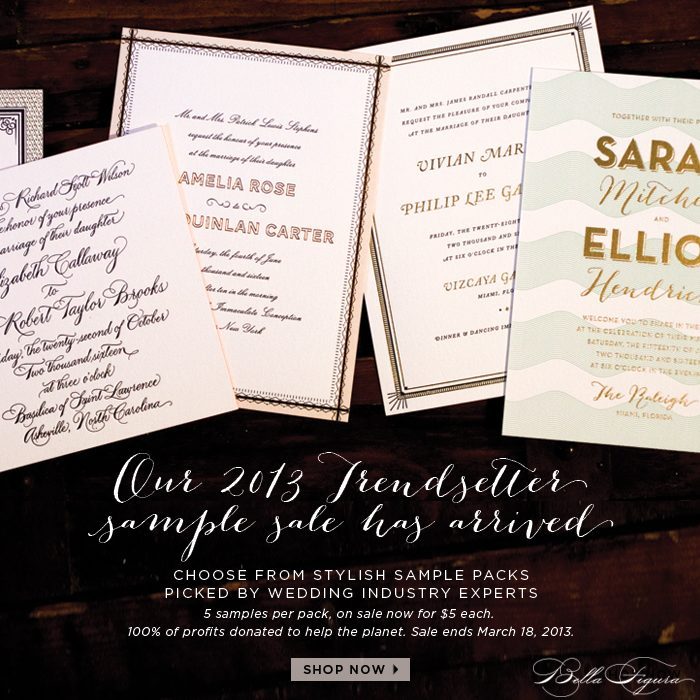 Choose from stylish sample packs curated by wedding industry professionals. All sample packs contain 5 samples each and are one sale for $5 per pack through March 18
