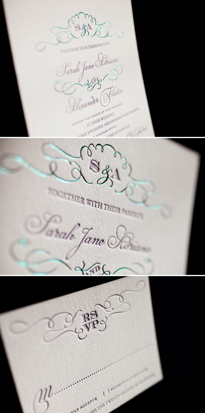 Teal shine paired with regalia letterpress creates a unique and colorful wedding invitation