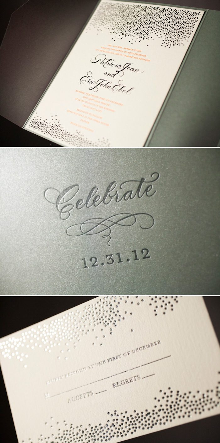 Our Joie de Vivre letterpress wedding invitation is transformed into an elegant style