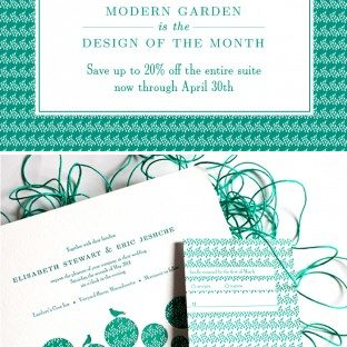 The Modern Garden letterpress invitation suite from Bella Figura is on sale during the month of April