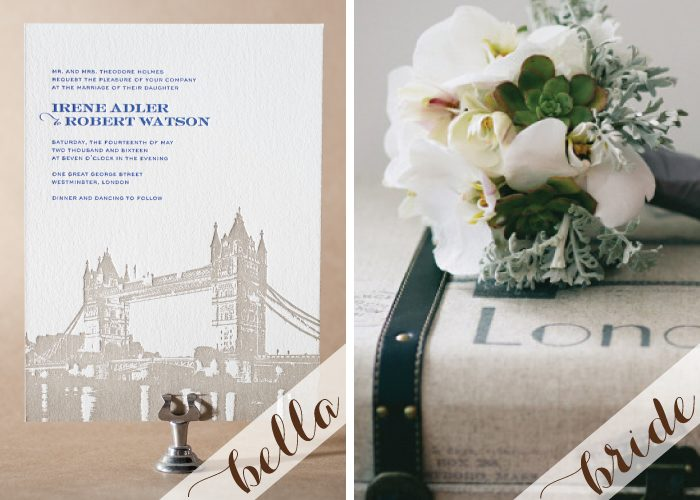 London themed letterpress wedding invitations