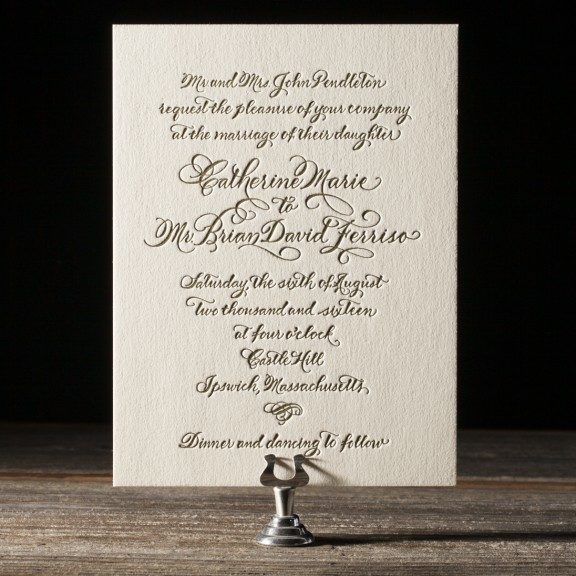 Classic Calligraphy Letterpress Wedding Invitations