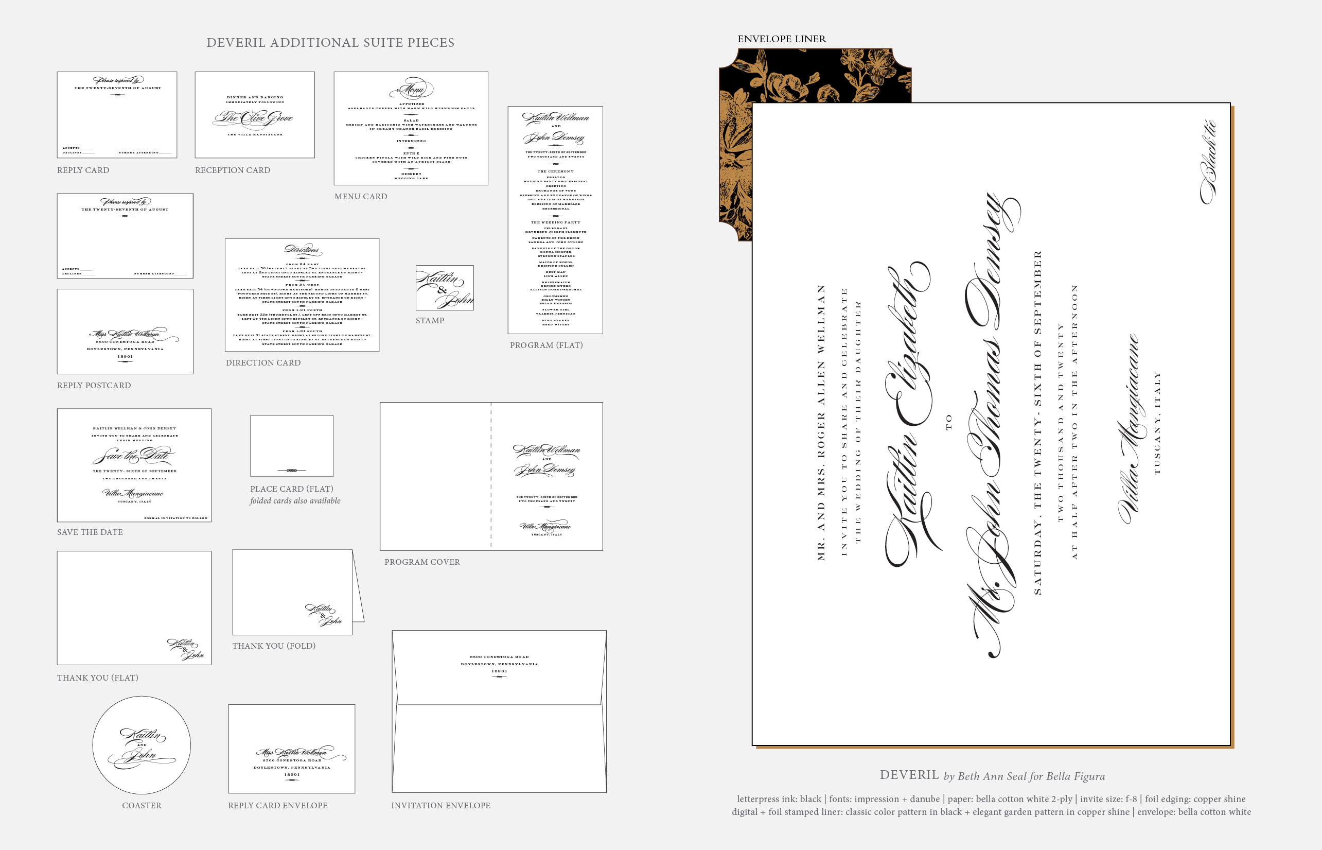 deveril classic letterpress wedding invitations from bella figura