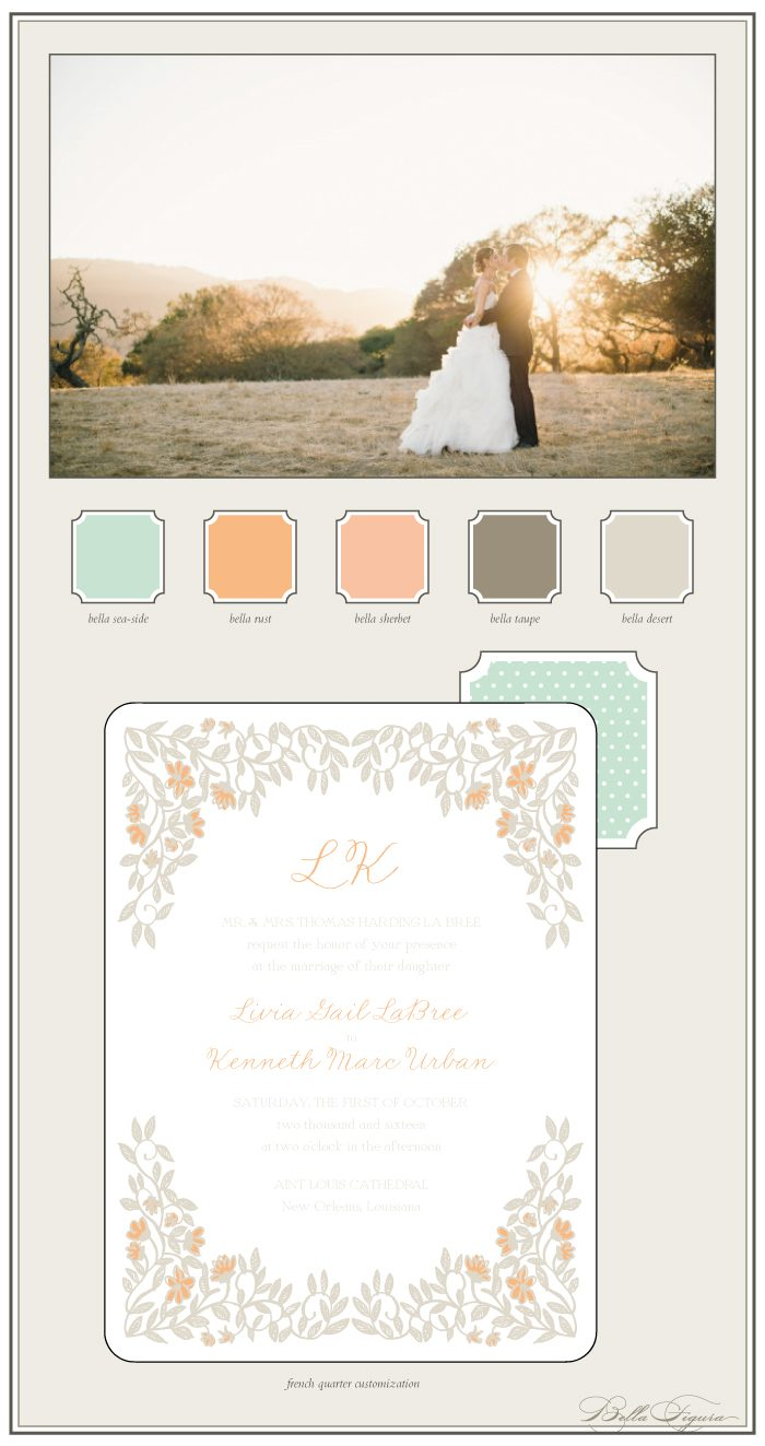 A soft color palette creates a romantic look for these letterpress wedding invitations