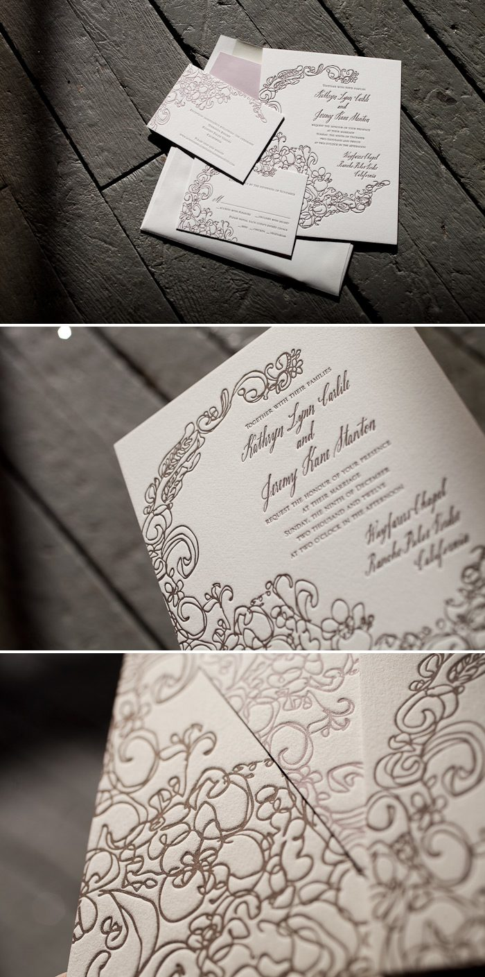 Letterpress wedding invitation with hand calligraphy