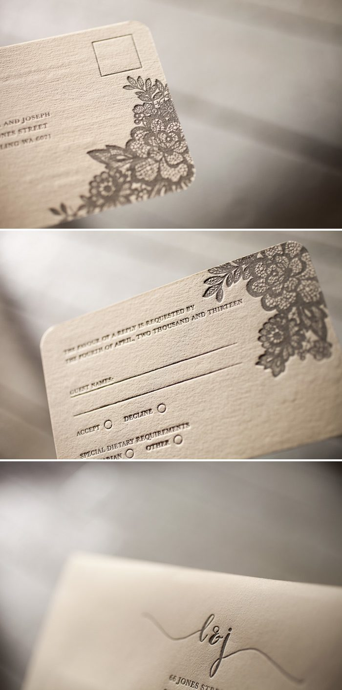 Our Lace design is classically elegant in one color letterpress