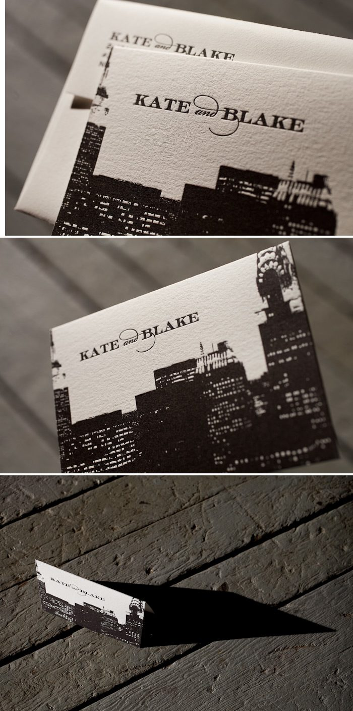 Letterpress thank you notes with the NY skyline