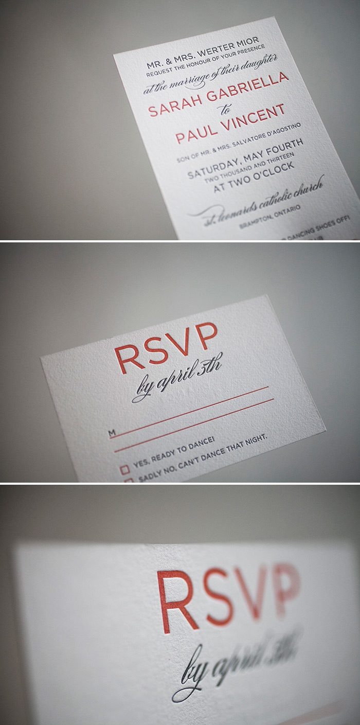 Pewter and papaya letterpress wedding invitations