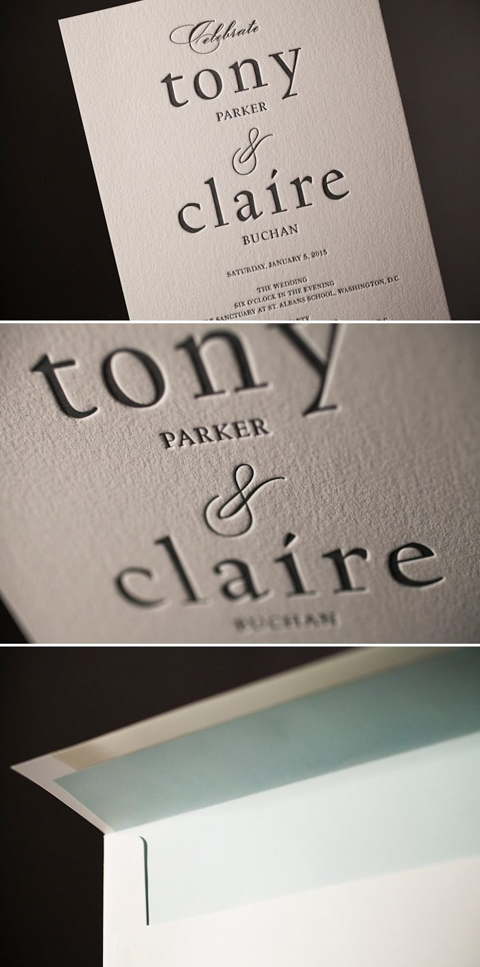 A soft color palette enhances this custom letterpress wedding suite.