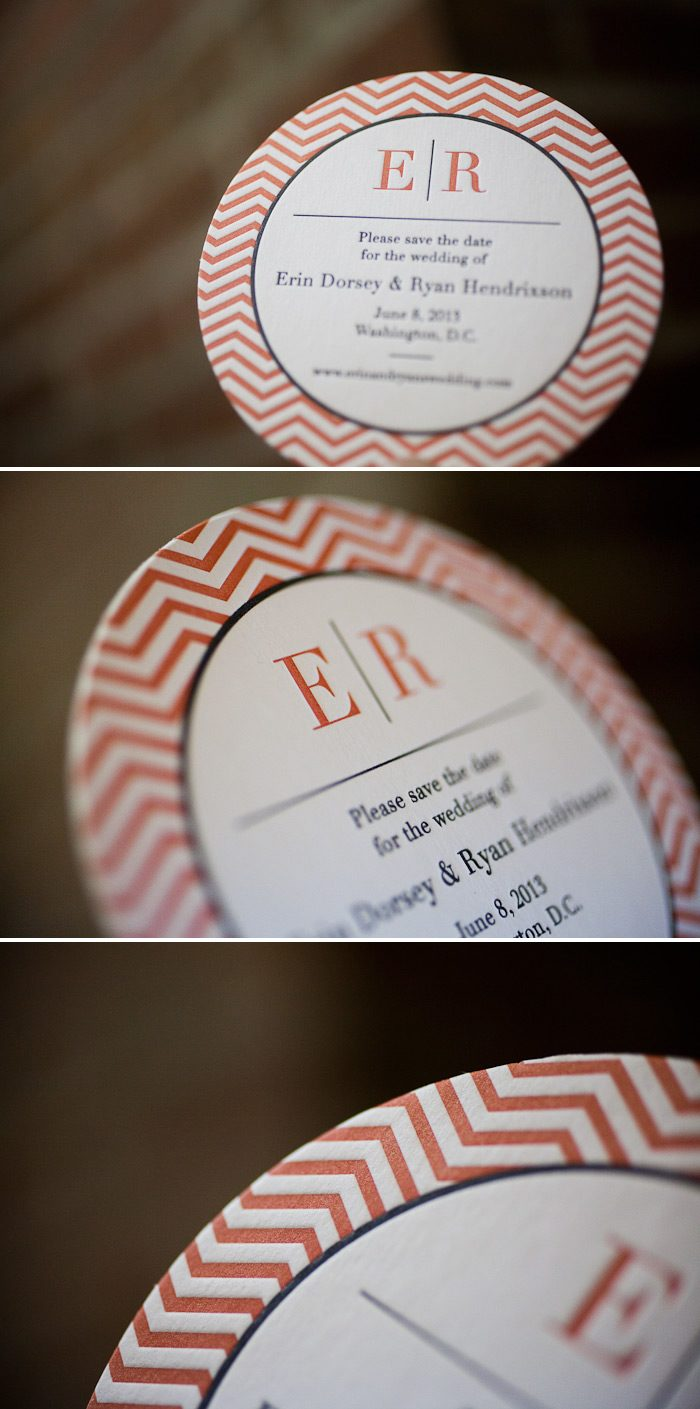 Letterpress save the date coasters with chevron details