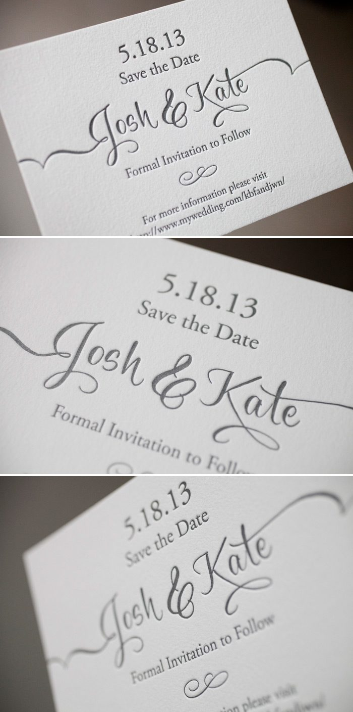 Classic gray letterpress save the dates