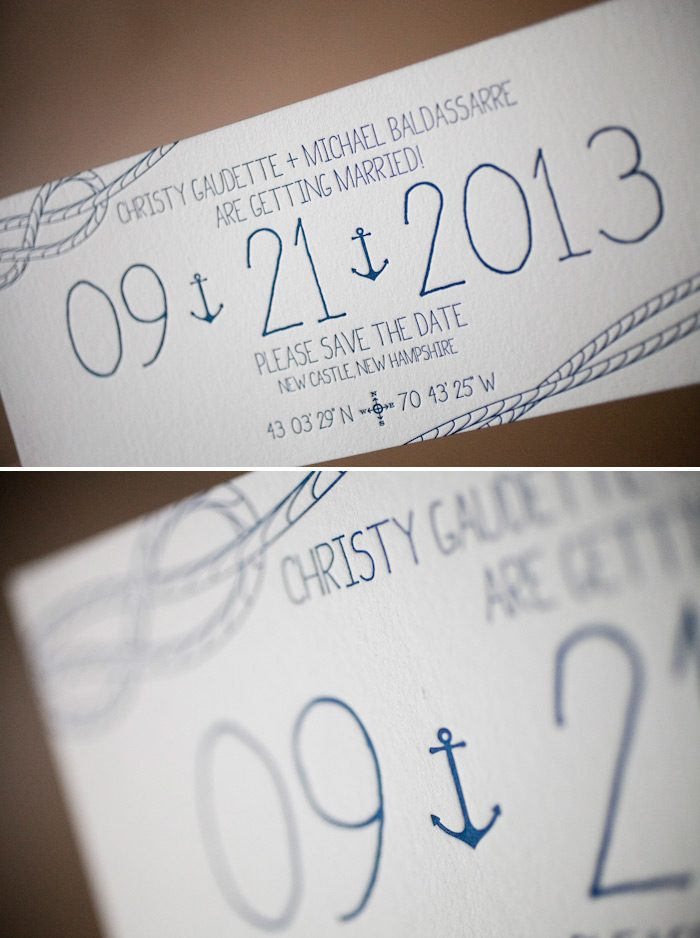 Nautical letterpress save the dates