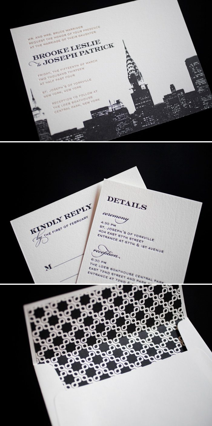 NY city letterpress wedding invitations