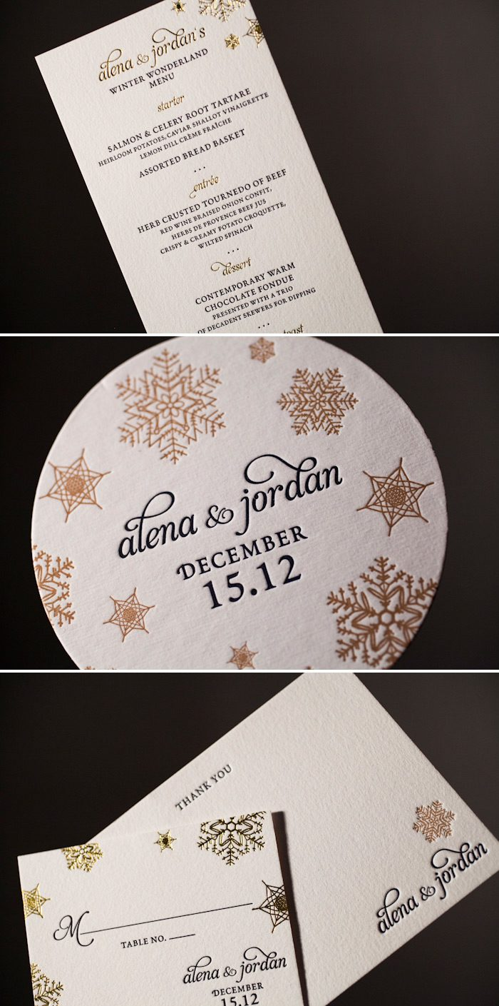 We offer letterpress menus, thank yous and coasters to match your invitations