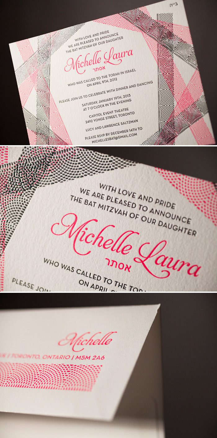 Modern and fresh letterpress + foil bat mitzvah invitations