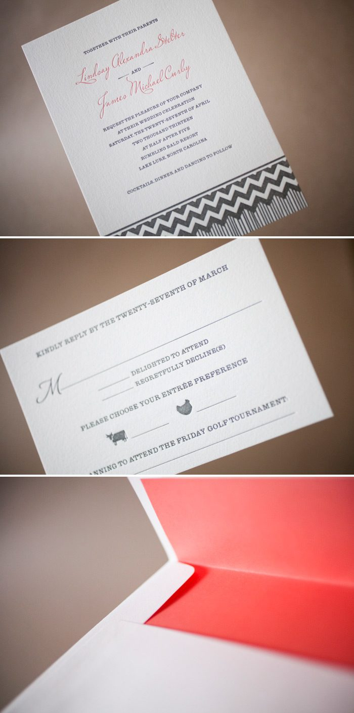 Letterpress wedding invitations with chevron accents