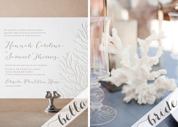 Letterpress + foil beach wedding invitations
