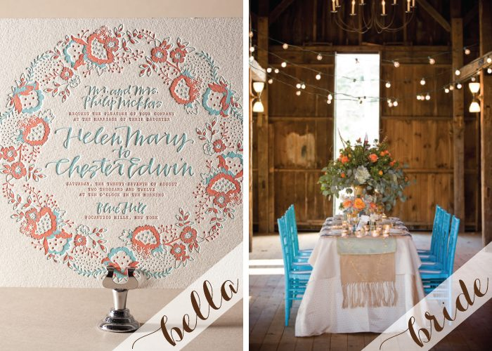 Chapin, a folk art inspired letterpress wedding invitation design from Bella Figura features hand calligraphy by Patricia Mumau and is perfect for a barn wedding.