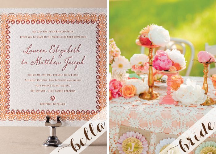 Letterpress wedding invitations in a colorful palette