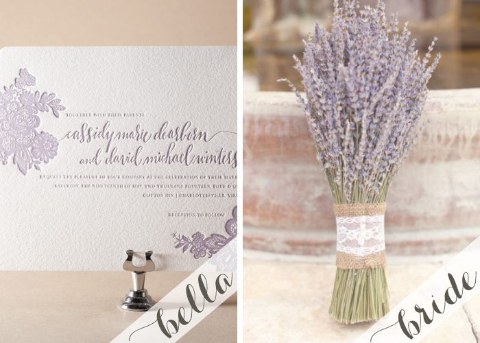 Lavender letterpress wedding invitations