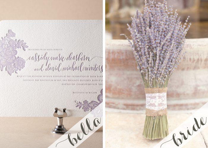 Lavender letterpress wedding invitations