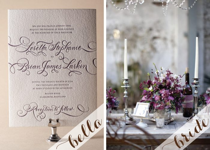 Winery inspired wedding inspiration featuring Bella Figura's Loretta Formal wedding invitation