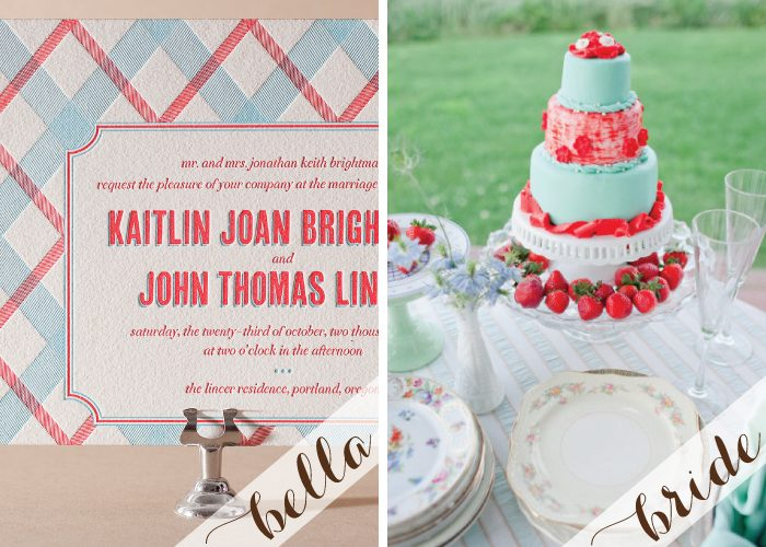 Letterpress wedding invitations with a preppy style
