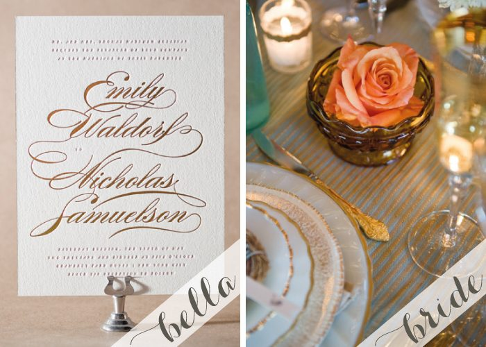 Letterpress + foil wedding inspiration featuring the Whisper wedding invitation from Bella Figura