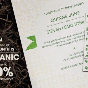 Save on the Organic letterpress wedding invitation suite now through May 31 from Bella Figura
