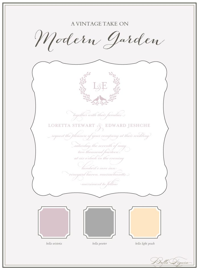 Bella Figura's Modern Garden invitation suite is on sale for 10% off through the month of April