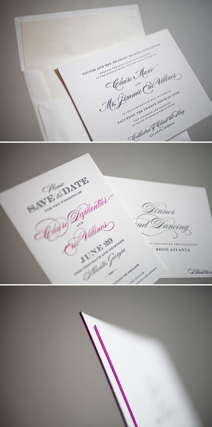 Sophisticated letterpress wedding suite