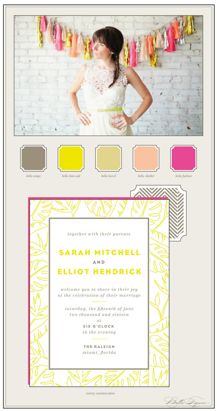 neon letterpress invitations with a tropical style