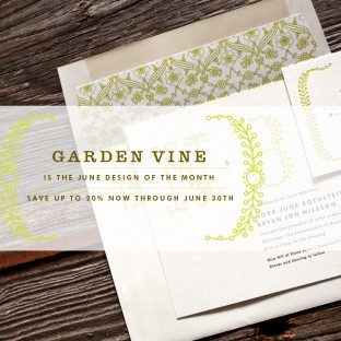 Save up to 20% on the Bella Figura letterpress invitation suite Garden Vine now through June 30