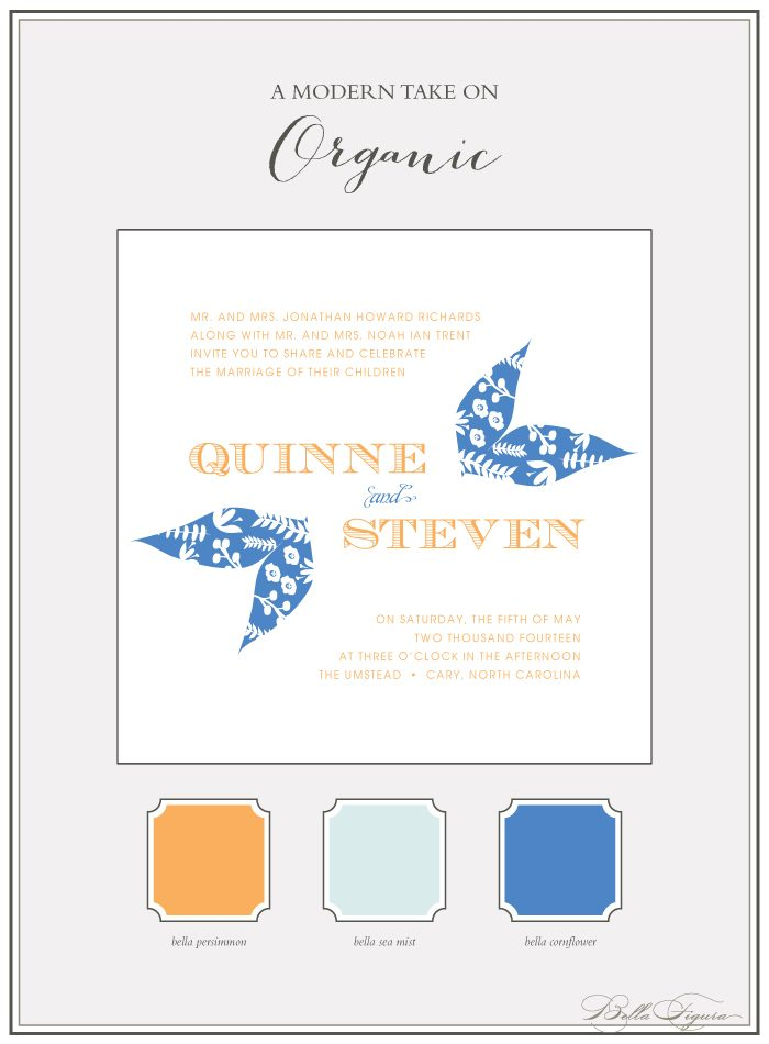 The Organic wedding invitation suite from Bella Figura is on sale now through May 31, 2013