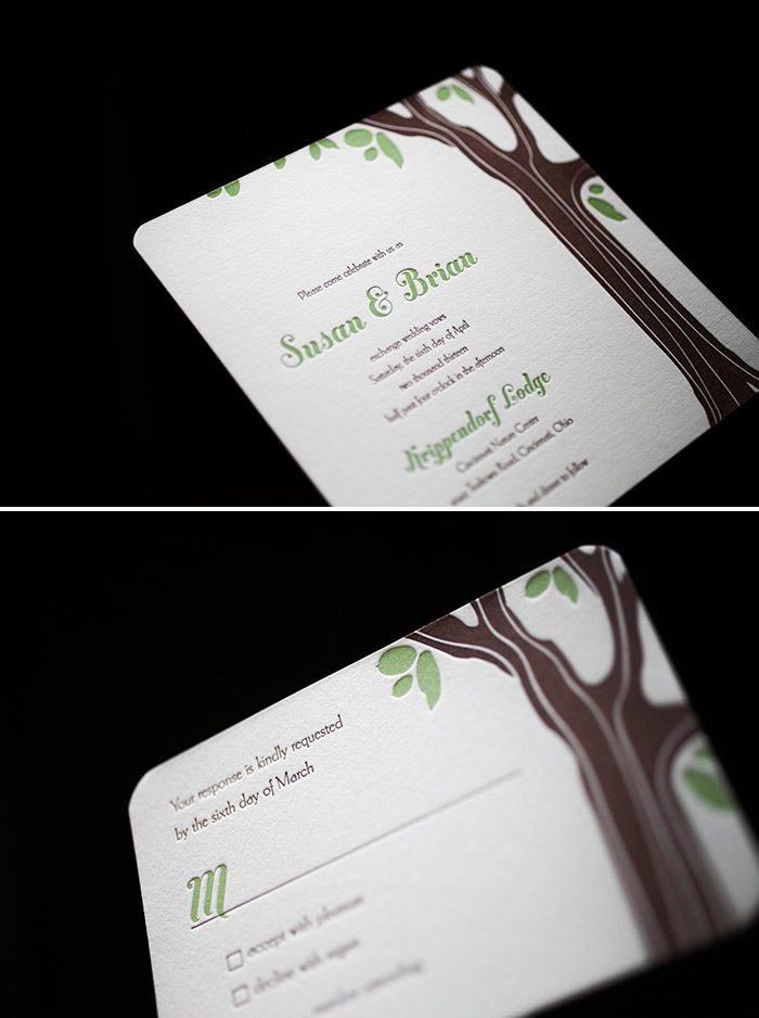 Create a natural rustic letterpress wedding invitation